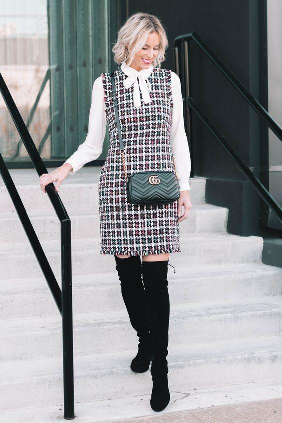 cách phối đồ với váy yếm mùa đông - yếm tweed