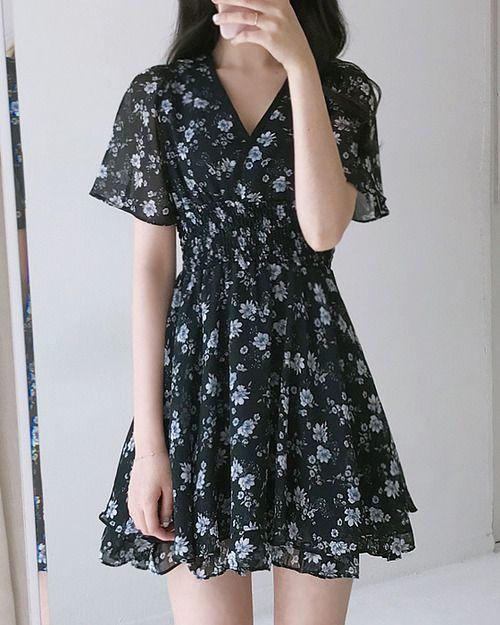 mẫu váy hoa cho người béo bụng - hoa nhí