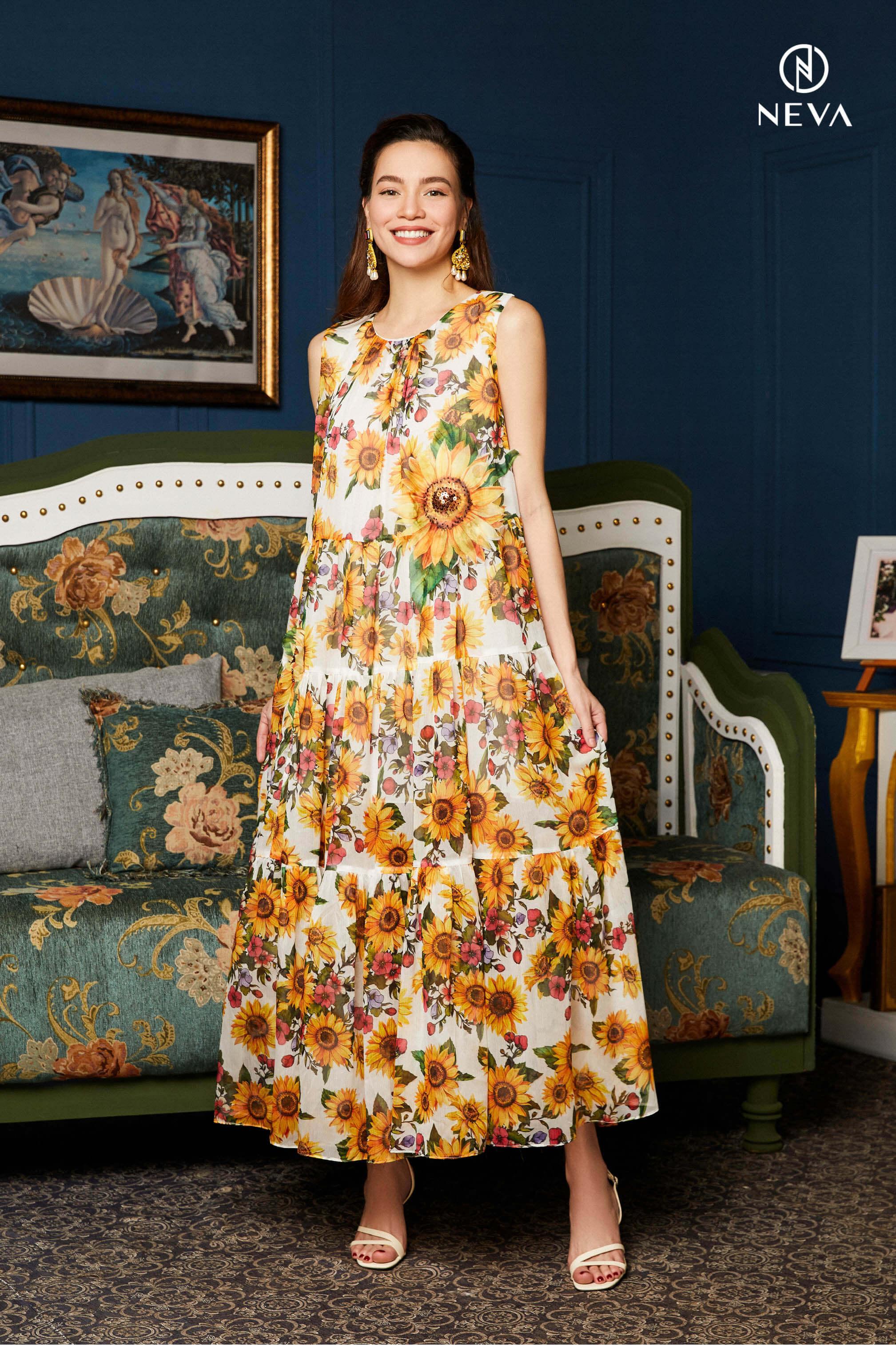 váy đi biển họa tiết hoa cho bà bầu
