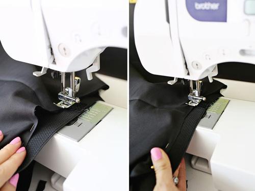 Lộn trải mặt vải và sử dụng máy may cố định để định hình form của chân váy voan.