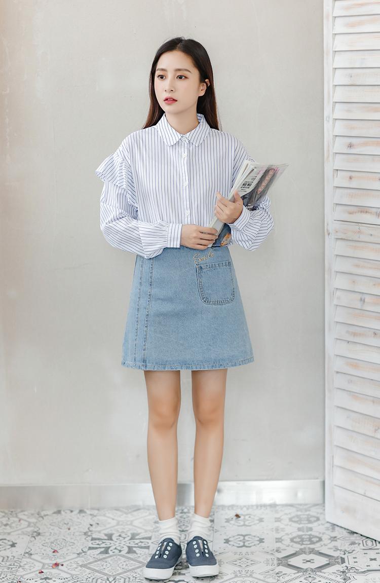 Image result for Áo sơ mi, váy bò dài, giày sneaker