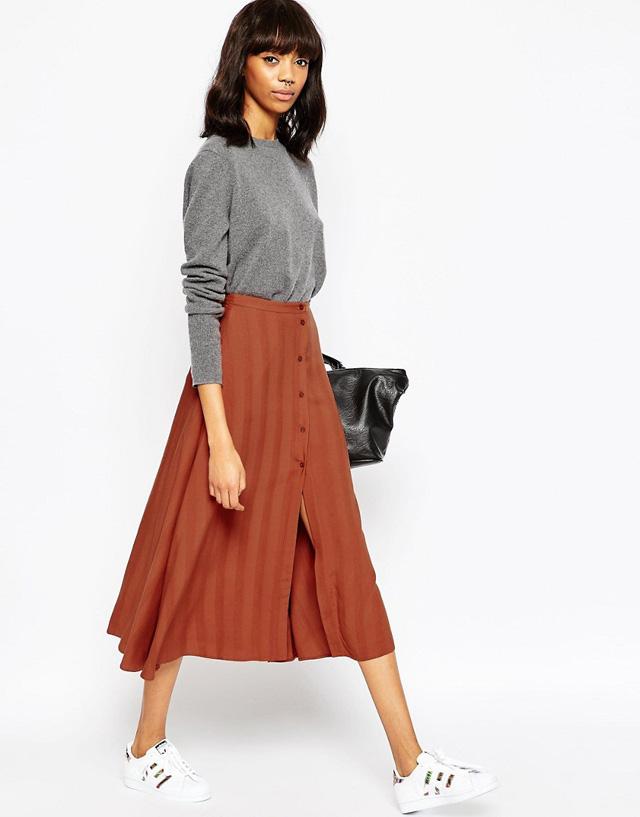 chân váy midi là gì, mix đồ với chân váy midi, chân váy midi kết hợp với áo gì 2