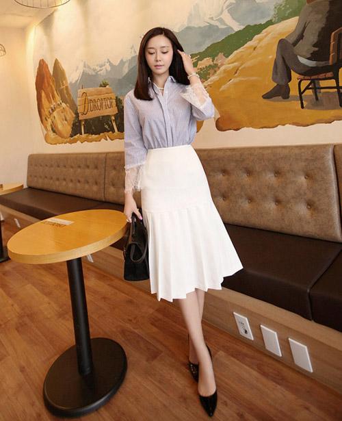 chân váy trắng mặc với áo gì 7