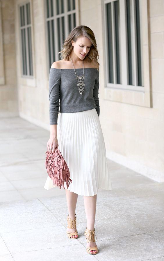 chân váy trắng mặc với áo gì 5