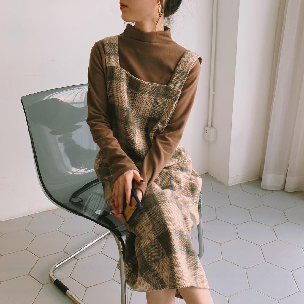 Các chất liệu váy yếm mùa đông mix đồ đẹp