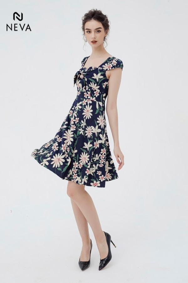 váy hoa xòe liền thân, mẫu váy hoa xòe liền thân, đầm xòe hoa liền thân, váy hoa liền thân dáng dài, váy hoa liền thân dáng dài