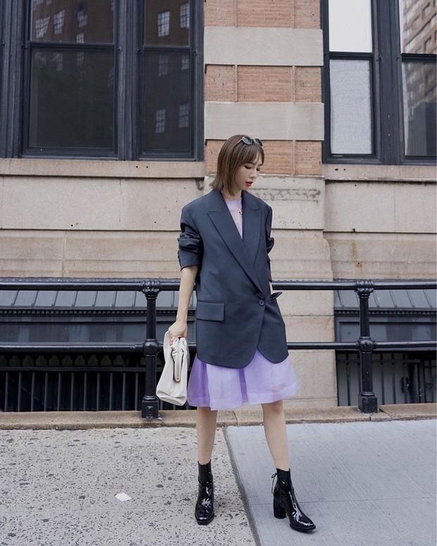 Váy suông + Blazer phối đồ mùa đông
