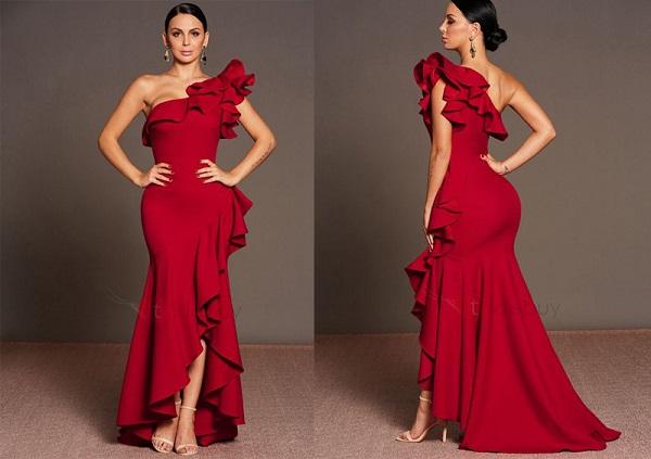 váy lệch vai màu đỏ, đầm lệch vai màu đỏ