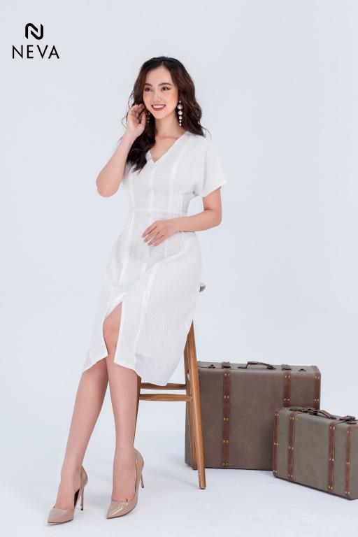 váy đầm liền thân màu trắng đẹp, đầm liền thân màu trắng, váy liền thân màu trắng, mẫu váy liền thân màu trắng đẹp