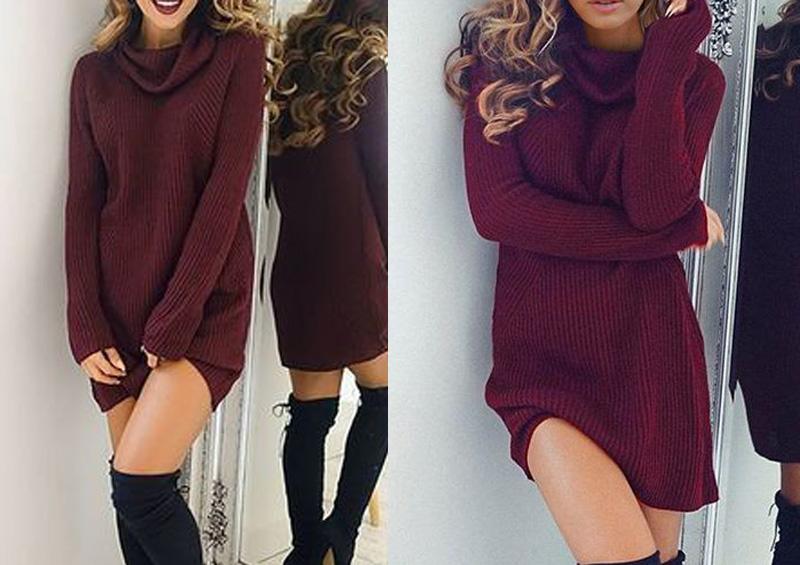 Váy len suông mùa đông dáng ngắn