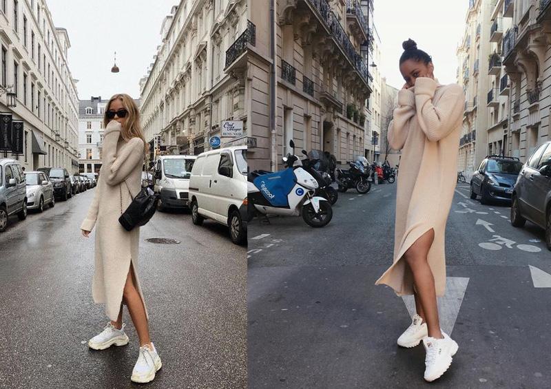 Váy len suông mùa đông xẻ tà