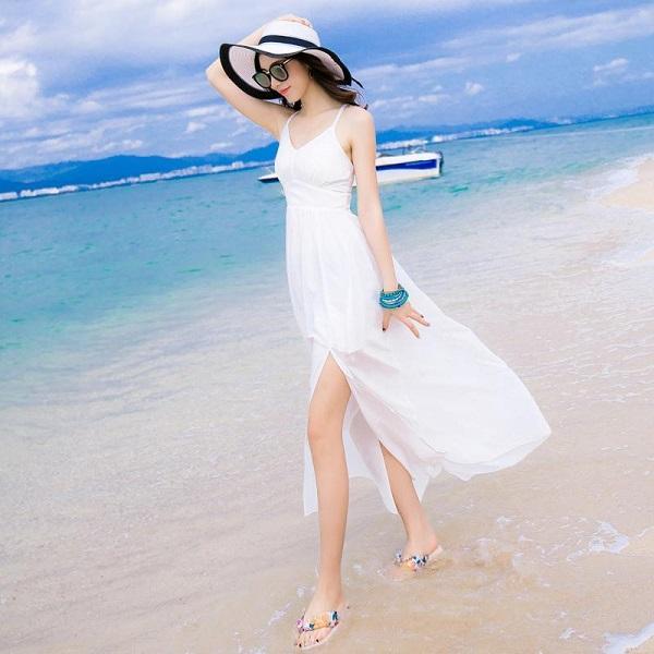 váy trắng đi biển đẹp, đầm trắng đi biển, váy trắng đi biển 2019, váy trắng dài đi biển, mẫu váy trắng đi biển đẹp